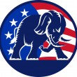 RepublicElephant Mascot USFlag — Stock Vector #12482887