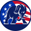 Republican Elephant Mascot USA Flag - Stock Vector