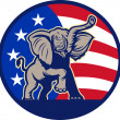 RepublicElephant Mascot USFlag — Stock Vector #12482926