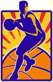 Basketball Player Dribbling Ball Retro — Stock Vector