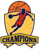 Basketball Player Dribbling Ball Shield Retro — Stock Vector