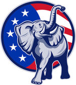 Republican Elephant Mascot USA Flag — Stock Vector