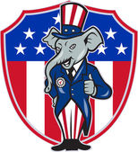 Republican Elephant Mascot Thumbs Up USA Flag — Stock Vector