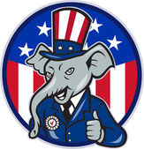 Republican Elephant Mascot Thumbs Up USA Flag — Stock Vector