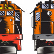 Diesel Train Front Rear Woodcut Retro — Stock vektor