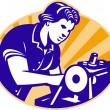 Stock Vector: Female Machinist Seamstress Worker Sewing Machine