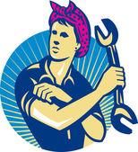 スパナ レトロで女性メカニック労働者 — ストックベクタ