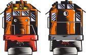 Diesel Train Front Rear Woodcut Retro — Stock Vector