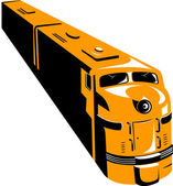 Diesel Train High Angle Retro — Stock Vector