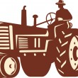 Farmer Driving Vintage Tractor Retro — Stock Vector #13183152
