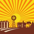 Farm Scene With Barn House Windmill Silo Retro - Imagen vectorial