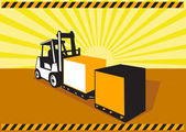 Forklift Truck Materials Handling Retro — Stock Vector