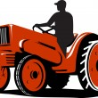 Farmer Driving Vintage Tractor Retro — Stock Vector #13499141