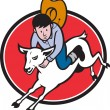 Junior Rodeo Cowboy Riding Sheep — 图库矢量图片