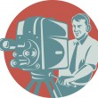 Cameraman Filming With Vintage TV Camera — Stock Vector