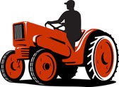 Farmer Driving Vintage Tractor Retro — Stockvector