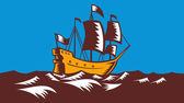 Tall Sailing Ship Retro Woodcut — Stock Vector