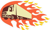 Konteyner kamyon ve römork alevler retro — Stok Vektör