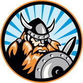 Viking Raider Barbarian Warrior Retro — Stock Vector