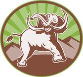 Elephant Giant Tusk Side Retro Circle — Stock Vector