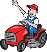 Farmer Driving Ride On Mower Tractor — Stock Vector