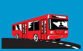 Coach Bus Shuttle Retro — Stock Vector