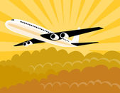 Jumbo Jet Plane Retro — Stock Vector