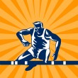 Royalty-Free Stock Vectorielle: Track and Field Athlete Jumping Hurdles