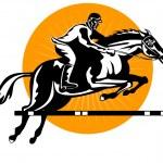 Equestrian Show Jumping Retro — Stock Vector