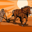 Stock Vector: Farmer and Horse Plowing Farm Retro