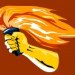 Hand Holding Burning Flaming Torch — Stock Vector