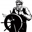 Stock Vector: FishermSeCaptain At Helm Retro