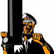Navy Captain Sailor With Periscope — Stock Vector