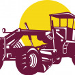 Stock Vector: Vintage Road Grader Retro