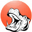 Hippopotamus Head Retro - Imagen vectorial