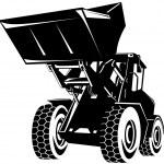 Front End Loader Digger Excavator Retro — Stock Vector #13801180