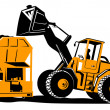 Front End Loader Digger Excavator Retro — Stockvectorbeeld