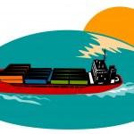 Container Ship Cargo Boat — Stock Vector