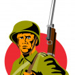 World War Two American Soldier - Stock Vector