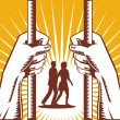 Royalty-Free Stock Vector Image: Hand Looking Couple Prison Prisoner Retro