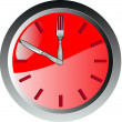 Stock Vector: Wall clock spoon and fork eating time