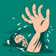 Man Reaching for Help Drowning — Stock Vector