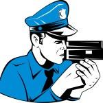Policeman Police Officer Speed Camera — Stock Vector #13801963