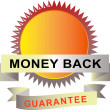 Seal with scroll money back guarantee — Imagen vectorial
