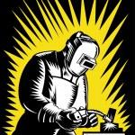 Welder Metal Worker Welding Retro — Stock Vector #13802045
