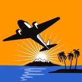 Propeller Airplane Retro — Stock Vector
