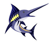 Blue Marlin Fish Jumping Retro — Stockvector