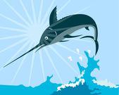 Blue Marlin Fish Jumping Retro — Stock Vector