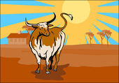 Raging Bull Attacking Retro — Stock Vector