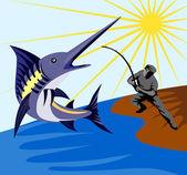 Blue marlin ryby skoki retro — Wektor stockowy